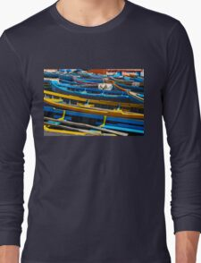 Blue fishing boats in Ahrud near Agadir, Morocco Long Sleeve T-Shirt