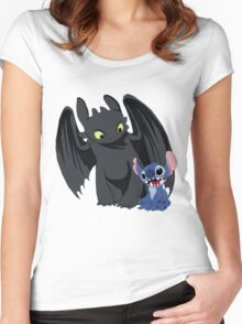 Stitch and Toothless Women's Fitted Scoop T-Shirt