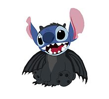 Stitch wearing a Toothless Onsie by drawingdream