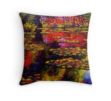 Flowers by Monet's Pond (1502) Throw Pillow