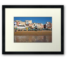 Blue fishing boats in Ahrud near Agadir, Morocco Framed Print