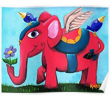 Pink Flying Elephant Poster