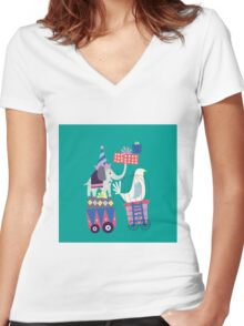 Fun Circus Elephant Women's Fitted V-Neck T-Shirt