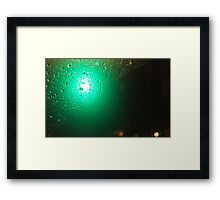 Traffic Lights And Rain - Green Framed Print