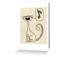 white cat singing Greeting Card