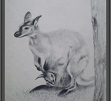 Australian Kangaroo And Her Joey by Louise Page