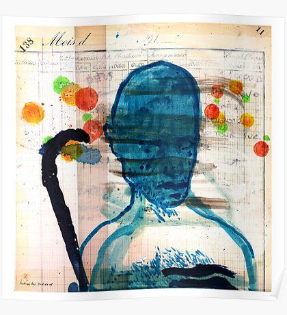 buste masculin bleu Poster