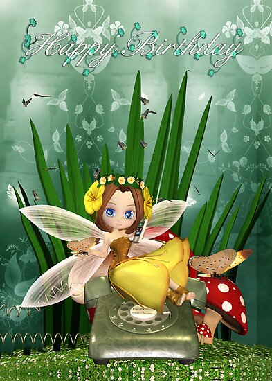 Birthday Card With Cute Fairy On Cell Phone by Moonlake