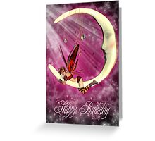 Birthday Card With Fairy On Moon Greeting Card