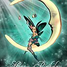 Birthday Card With Fairy On Moon Green by Moonlake