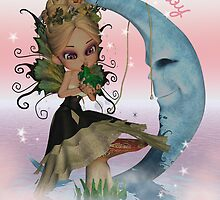 Cute Pastel Fairy Kissing A Little Frog Sat On A Moon by Moonlake