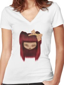 Little Happy Doll Women's Fitted V-Neck T-Shirt