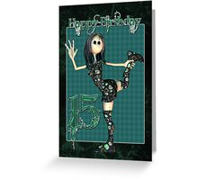 Rock Chick 14th Birthday Card With Rag Doll Rocker Greeting Card