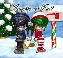 Are you naughty or nice Christmas Card by Moonlake