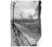 Wooden Bridge and Lamp Posts BW Poster