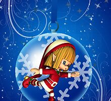 Holiday Tree Bauble Ornament With Cute Elf by Moonlake