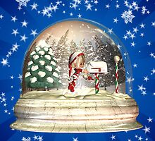 Christmas Card To You And Yours With Elf In A Snow Globe by Moonlake