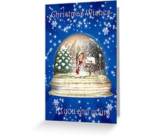 Christmas Card To You And Yours With Elf In A Snow Globe Greeting Card
