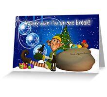 Geordie Christmas Card With Elf Drinking Newcie Brown Ale Greeting Card
