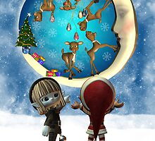 Christmas Card With Two Elfs And Reindeer Being Naughty by Moonlake