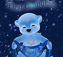 Baby's First Chanukah Card With Cute Bear Holding A Banner Scarf by Moonlake