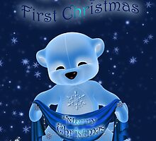 Baby's First Christmas With Little Ice Bear Holding A Banner Scarf by Moonlake