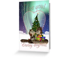 I love You Christmas Card With Two Cute Squirrels For Boyfriend Greeting Card