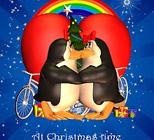 Lesbian I Love You Holiday Card With Kissing Penguins Under A Heart And Holiday Tree by Moonlake