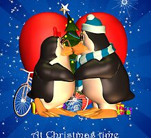 I Love You Wife Christms Card With Kissing Penguins by Moonlake
