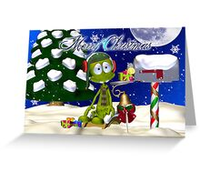 Cute Little Alien Waiting For Santa In The Snow Greeting Card