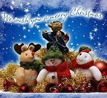Holiday Card With Magical Mouse And Christmas Creatures by Moonlake