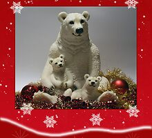 Holiday Card With Polar Bear And Baby Red by Moonlake