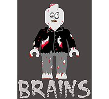 BRAINS ZOMBIE MINIFIG Photographic Print
