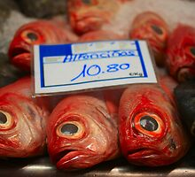 Fresh fish on a fish market in Spain by portosabbia