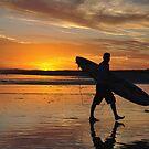 Surfer Silhouette - Redhead Beach NSW Australia by Bev Woodman
