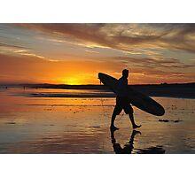 Surfer Silhouette - Redhead Beach NSW Australia Photographic Print