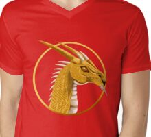 Gold Dragon Face Mens V-Neck T-Shirt