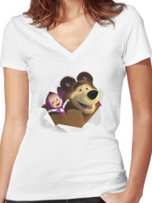 Masha and the Bear Women's Fitted V-Neck T-Shirt