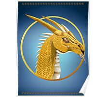 Gold Dragon Face poster Poster