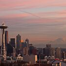 Sunset from Queen Anne Hill - Seattle (Christmas time) by Barb White