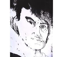 Distorted Self Portrait Drawing. Photographic Print