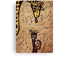 Feeding Giraffes Is Hard Canvas Print