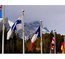 Olympic Flags - Canmore Nordic Centre Photographic Print