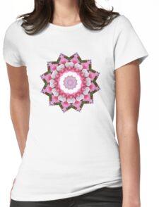 pink pop flowers mandala Womens Fitted T-Shirt