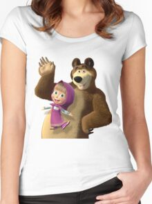 Masha and the Bear 3  Women's Fitted Scoop T-Shirt
