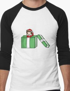 Chibi in a christmas box Men's Baseball ¾ T-Shirt