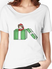 Chibi in a christmas box Women's Relaxed Fit T-Shirt