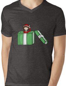 Chibi in a christmas box Mens V-Neck T-Shirt