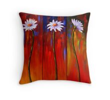 Three White Daisies Throw Pillow