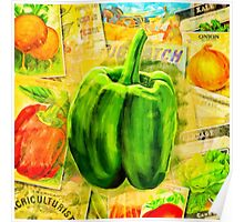 Green Bell Pepper On A Vintage Collage Poster